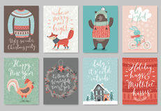 Christmas card set, hand drawn style. Stock Photos
