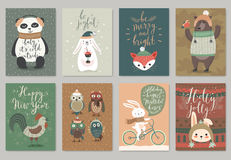 Christmas card set, hand drawn style. Stock Images