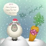 Christmas card. 2015 sheep. Santa congratulates with Christmas and New Year stock illustration