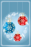 Christmas card. With shimmering baubles, holidays illustration - available as vector-eps and jpg file stock illustration