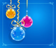 Christmas card with shining balls and ribbons Stock Images