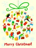 Christmas card with shopping people. Winter seasonal greeting po Stock Photo