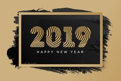 Christmas card with sign 2019 happy new year gold style. On holiday background for promotion, flyer, invitation, poster, decoration, web, banner sale. Vector 10 royalty free illustration