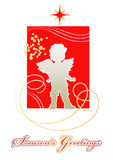 Christmas card with silhouette of  angel Stock Image