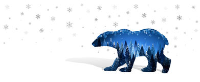 Christmas card with silhouette of bear Royalty Free Stock Photos