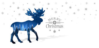 Christmas card with silhouette of reindeer Stock Images