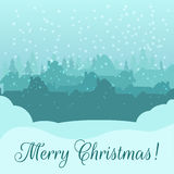 Christmas card.  Silhouette of a small town early Stock Images