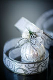 Christmas card with silver balls and ribbon Royalty Free Stock Images