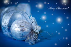 Christmas card with silver balls and ribbon Stock Photos