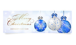 Christmas card with silver-blue shiny christmas balls Stock Photo