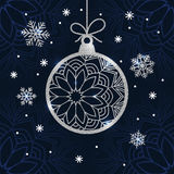 Christmas card with silver glitter bauble and snowflakes. Royalty Free Stock Images