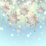 Christmas Card with silver snowflakes decoration Stock Images