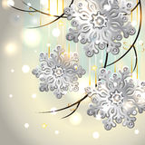 Christmas Card with silver snowflakes Royalty Free Stock Photography