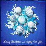 Christmas card on silver wreath with balls Stock Photos
