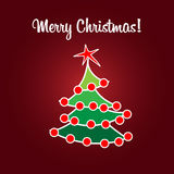 Christmas card simple flat tree Royalty Free Stock Photos