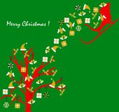 Christmas card with a  simple green background Stock Photo