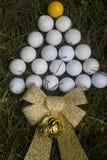 Christmas card simulating tree with golf balls