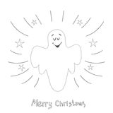 Christmas card with singing angel. Hand drawn illustration.  Stock Images