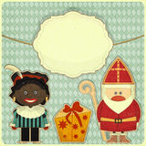 Christmas card with Sinterklaas. Christmas card Sinterklaas and Black Piet. Greeting card in vintage style - illustration Stock Photo