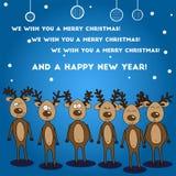 Christmas card Six Jolly colorful reindeer deer Royalty Free Stock Image
