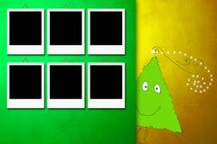 Christmas card with six photo frames Stock Photos