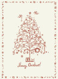 Christmas card, sketch drawing for your design Royalty Free Stock Photos