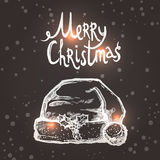Christmas Card With Sketch Santa Hat Stock Photos