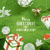 Christmas Card With Sketches on green Stock Photo