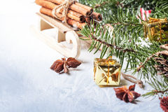Christmas card with sled and cinnamon Stock Image