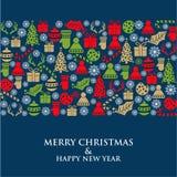 Christmas card with small symbols. Flat design stock illustration