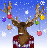 Christmas card with smiling deer Royalty Free Stock Photos