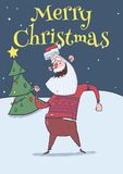 Christmas card of smiling Santa Claus in deer sweater dancing in the night in front of Christmas tree under the snow. Christmas card with smiling Santa Claus in Stock Photography