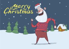 Christmas card of smiling Santa Claus in deer sweater dancing in the snowy night in front of spruce trees and festive. Christmas card with smiling Santa Claus in Royalty Free Stock Photos