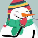 Christmas Card with smiling snowman stock illustration