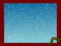 Christmas Card with Snow. A Christmas card frame/background with snow falling and a holly leaf in the corner.  Also available in vector format Stock Images
