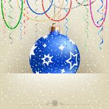 Christmas card snow and bauble Royalty Free Stock Photography