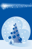 Christmas card with snow dome and tree Royalty Free Stock Photos