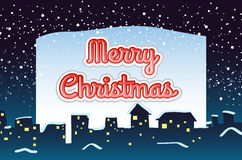 Christmas card with snow falling background Royalty Free Stock Images