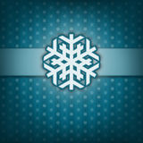 Christmas card with snow flake. Vintage style. Blue background. Stock Photography