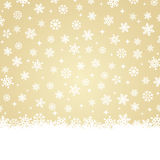 Christmas card - Snow on gold background Stock Photos