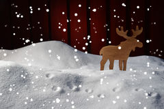 Christmas Card On Snow With Moose And Copy Space, Snowflakes Stock Image