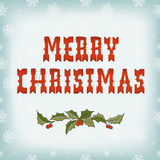 Christmas card on snow pattern Stock Images