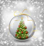 Christmas card with snow snowflakes, globe and. Christmas tree. Vector illustration Stock Image