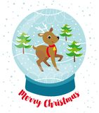 Snowball with cute reindeer, snow and trees royalty free illustration