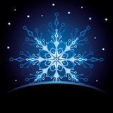 Christmas card with snowflake. Ornate Christmas card with decorative snowflake Stock Images