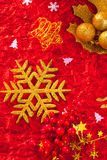 Christmas card snowflake golden and red Stock Images