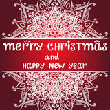 Christmas card with snowflake on red background. Christmas card with snowflake. Vector illustration Royalty Free Stock Photography