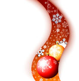 Christmas card - snowflakes. With yellow and red bulbs Royalty Free Stock Image