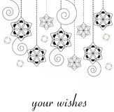 Christmas card - snowflakes background. Christmas ornament, black and white Stock Images