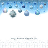 Christmas card with snowflakes and balls Stock Photos